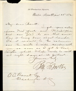 MAJOR GENERAL BENJAMIN F. BUTLER - MANUSCRIPT LETTER SIGNED 04/25/1882
