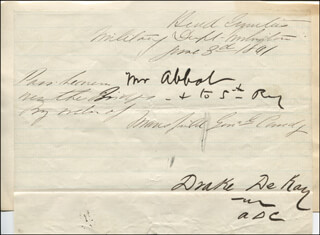 DRAKE DE KAY - PASS SIGNED 06/03/1861