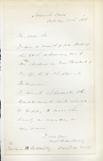 DAVID AMES WELLS - AUTOGRAPH LETTER SIGNED 10/30/1886