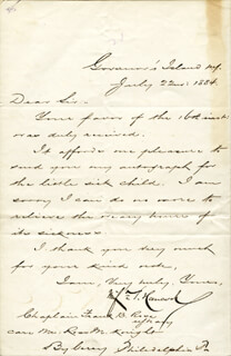 MAJOR GENERAL WINFIELD SCOTT HANCOCK - AUTOGRAPH LETTER SIGNED 07/22/1884