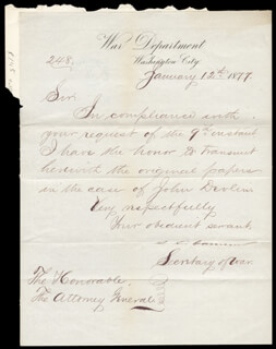 Autographs: JAMES D. CAMERON - AUTOGRAPH LETTER SIGNED 01/12/1877