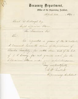 ALFRED BULT MULLETT - AUTOGRAPH LETTER SIGNED 04/16/1874