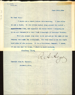 Autographs: RUSSELL A. ALGER - TYPED LETTER SIGNED 06/18/1890