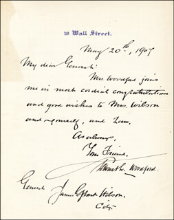 BRIGADIER GENERAL STEWART L. WOODFORD - AUTOGRAPH LETTER SIGNED 05/20/1907