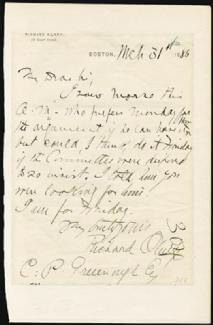 RICHARD OLNEY - AUTOGRAPH LETTER SIGNED 03/31/1886