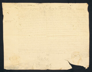 Autographs: KING LOUIS XV (FRANCE) - MANUSCRIPT DOCUMENT UNSIGNED WITH COUNT MAUREPAS (JEAN-FREDERIC PHELYPEAUX)