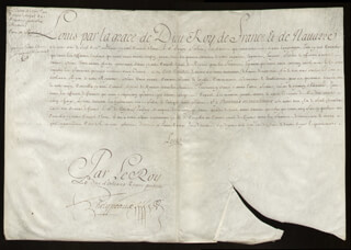 Autographs: KING LOUIS XV (FRANCE) - MANUSCRIPT DOCUMENT UNSIGNED 10/1716 WITH COUNT PONTCHARTRAIN (LOUIS PHELYPEAUX), DUKE OF ORLEANS (PHILIPPE CHARLES)