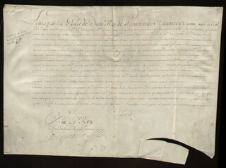 Autographs: KING LOUIS XV (FRANCE) - MANUSCRIPT DOCUMENT UNSIGNED 1715 WITH COUNT PONTCHARTRAIN (LOUIS PHELYPEAUX), DUKE OF ORLEANS (PHILIPPE CHARLES)