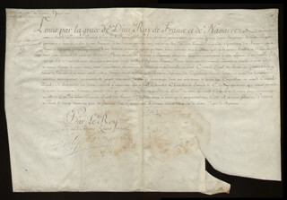 Autographs: KING LOUIS XV (FRANCE) - MANUSCRIPT DOCUMENT UNSIGNED WITH COUNT PONTCHARTRAIN (LOUIS PHELYPEAUX), DUKE OF ORLEANS (PHILIPPE CHARLES)