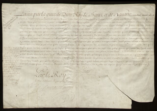 Autographs: KING LOUIS XV (FRANCE) - MANUSCRIPT DOCUMENT UNSIGNED 10/1715 WITH COUNT PONTCHARTRAIN (LOUIS PHELYPEAUX), DUKE OF ORLEANS (PHILIPPE CHARLES)