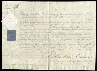 Autographs: KING GEORGE IV (GREAT BRITAIN) - MILITARY APPOINTMENT SIGNED 01/01/1812 CO-SIGNED BY: RICHARD RYDER