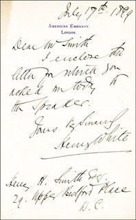 HENRY WHITE - AUTOGRAPH LETTER SIGNED 07/17/1899