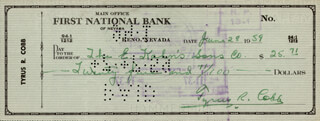 TY COBB - AUTOGRAPHED SIGNED CHECK 06/28/1959