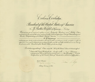 Autographs: PRESIDENT CALVIN COOLIDGE - DIPLOMATIC APPOINTMENT SIGNED 02/26/1927 CO-SIGNED BY: JOSEPH C. GREW