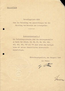 ADOLF DER FUHRER HITLER - DOCUMENT SIGNED 04/30/1944 CO-SIGNED BY: OTTO MEISSNER