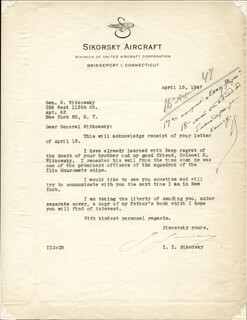 IGOR SIKORSKY - TYPED LETTER SIGNED 04/15/1947