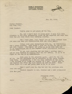 EARLE OVINGTON - TYPED LETTER SIGNED 01/14/1924