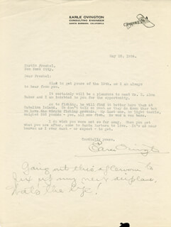 EARLE OVINGTON - TYPED LETTER SIGNED 05/28/1924