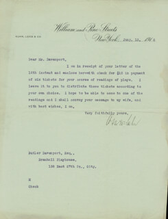 OTTO H. KAHN - TYPED LETTER SIGNED 01/13/1916