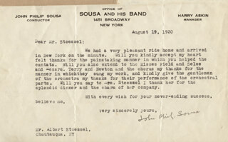 JOHN PHILIP THE MARCH KING SOUSA - TYPED LETTER SIGNED 08/19/1930