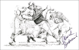 Autographs: CHUCK BEDNARIK - PRINTED ILLUSTRATION SIGNED IN INK
