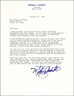 MIKE SCHMIDT - TYPED LETTER SIGNED 01/31/1983