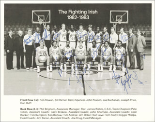 NOTRE DAME - AUTOGRAPHED SIGNED PHOTOGRAPH CO-SIGNED BY: JOHN PAXSON, TIM KEMPTON, DAN DUFF, JOSEPH PRICE, JOE BUCHANAN, BILL VARNER, TOM SLUBY, JIM BARRON, JOE KRUG, PETE GILLEN, GARY BROKAW, JOHN SHUMATE, CECIL RUCKER