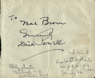 DICK POWELL - AUTOGRAPH NOTE SIGNED CIRCA 1942 CO-SIGNED BY: MARIE GREENE