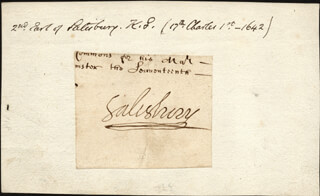 Autographs: EARL OF SALISBURY II (WILLIAM CECIL) - CLIPPED SIGNATURE CIRCA 1642