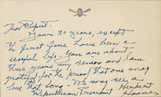 Autographs: PRESIDENT HERBERT HOOVER - AUTOGRAPH LETTER SIGNED CIRCA 1951