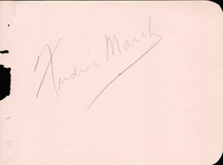 FREDRIC MARCH - AUTOGRAPH CO-SIGNED BY: MARGOT GRAHAME