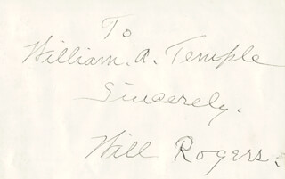 WILL ROGERS SR. - INSCRIBED SIGNATURE