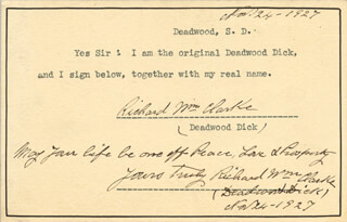 Autographs: RICHARD WILLIAM DEADWOOD DICK CLARKE - DOCUMENT DOUBLE SIGNED 11/24/1927