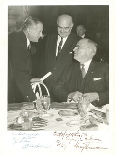 PRESIDENT HARRY S TRUMAN - AUTOGRAPHED INSCRIBED PHOTOGRAPH 11/26/1957 CO-SIGNED BY: WILLIAM HILLMAN