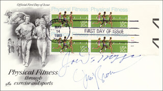 JOE DIMAGGIO - FIRST DAY COVER SIGNED CO-SIGNED BY: JIM BROWN