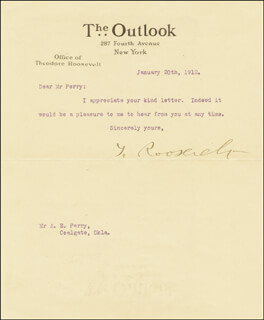 PRESIDENT THEODORE ROOSEVELT - TYPED LETTER SIGNED 01/20/1912