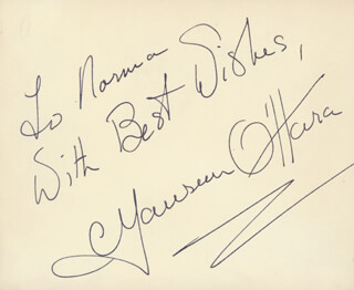 MAUREEN O'HARA - AUTOGRAPH NOTE SIGNED