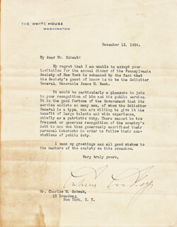Autographs: PRESIDENT CALVIN COOLIDGE - TYPED LETTER SIGNED 12/13/1924