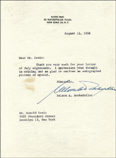 VICE PRESIDENT NELSON A. ROCKEFELLER - TYPED LETTER SIGNED 08/12/1958