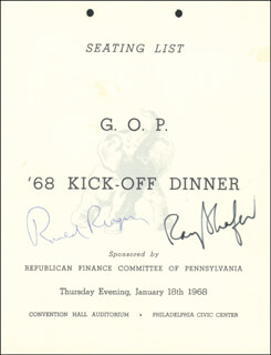 PRESIDENT RONALD REAGAN - PROGRAM SIGNED CO-SIGNED BY: GOVERNOR RAYMOND P. SHAFER