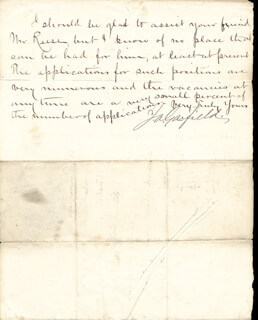 PRESIDENT JAMES A. GARFIELD - MANUSCRIPT LETTER SIGNED 12/18/1872