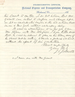 GENERAL JOSEPH E. JOHNSTON - AUTOGRAPH LETTER SIGNED 02/09/1866