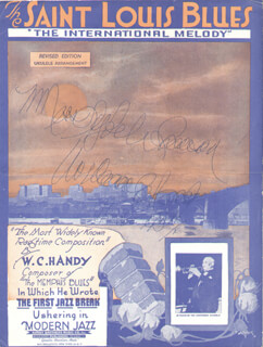Autographs: W.C. HANDY - INSCRIBED SHEET MUSIC COVER SIGNED 11/06/1957