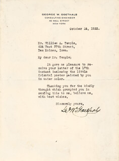 Autographs: MAJOR GENERAL GEORGE W. GOETHALS - TYPED LETTER SIGNED 10/24/1922