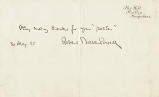 Autographs: ROBERT BADEN-POWELL - AUTOGRAPH NOTE SIGNED 05/30/1925