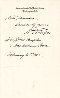 Autographs: PRESIDENT WILLIAM H. TAFT - AUTOGRAPH NOTE SIGNED 02/16/1922