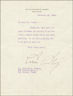 PRESIDENT CALVIN COOLIDGE - TYPED LETTER SIGNED 02/18/1922