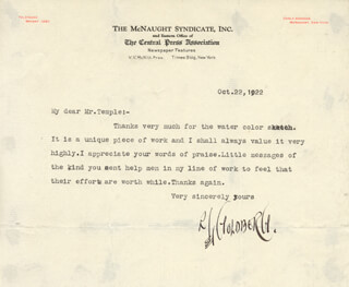 RUBE GOLDBERG - TYPED LETTER SIGNED 10/22/1922