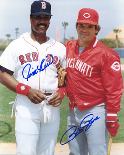 PETE ROSE - AUTOGRAPHED SIGNED PHOTOGRAPH CO-SIGNED BY: JIM RICE