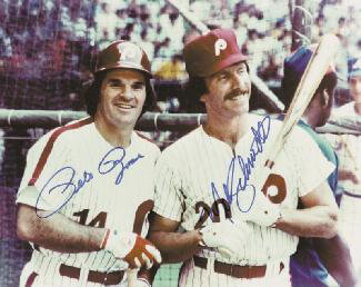 PETE ROSE - AUTOGRAPHED SIGNED PHOTOGRAPH CO-SIGNED BY: MIKE SCHMIDT